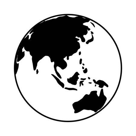 A world globe icon vector earth logo. black web global symbol