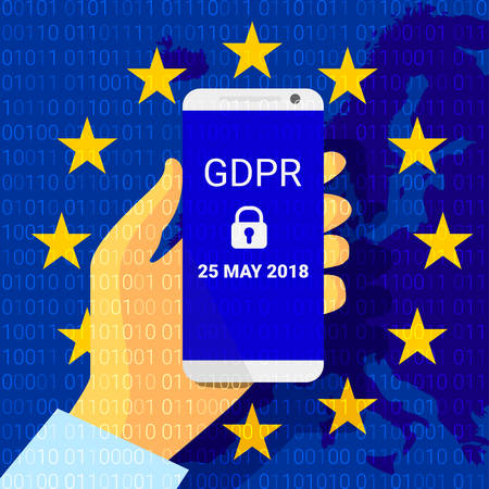 GDPR - General Data Protection Security technology background. Regulation. phone in hand. Vector illustration