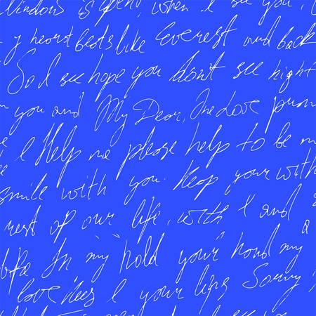 handwritten abstract text. Seamless pattern. Vector illustration for fabric texture Ilustração