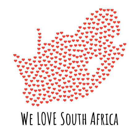 South Africa Map with red hearts- symbol of love. abstract background with text We Love South Africa. vector illustration. Print for t-shirt