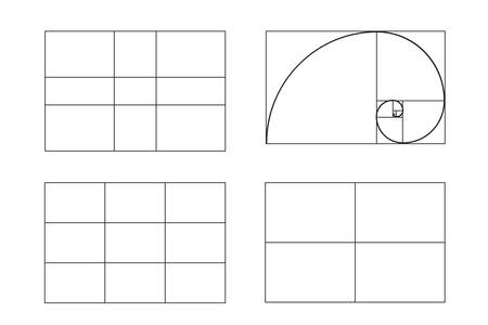 A rules of photo composition. golden ratio, Rule of thirds (rule of thumb), vector illustration. full hd video format