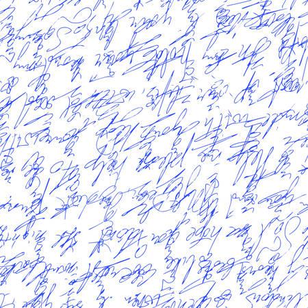 A handwritten abstract text  Seamless pattern written with a blue pen. Vector illustration for fabric texture Ilustração