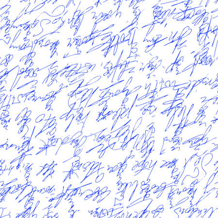 A handwritten abstract text  Seamless pattern written with a blue pen. Vector illustration for fabric texture Illustration