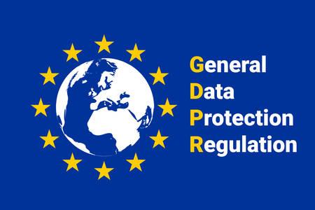 GDPR - 一般データ保護規則。EU マップとフラグ。ベクトルイラスト