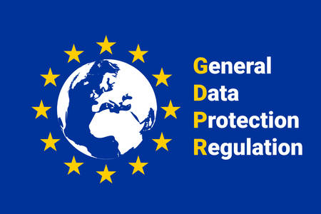GDPR - General Data Protection Regulation. EU map and flag. Vector illustration Imagens - 91375388