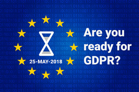 GDPR - General Data Protection Regulation. Text: Are you ready for GDPR. EU flag. Vector illustration Иллюстрация