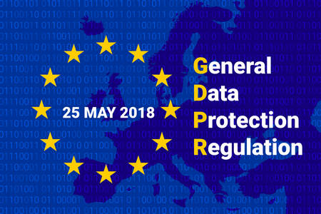GDPR - General Data Protection Regulation initials with stars in circle. Vector illustration