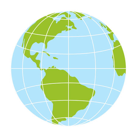 A world globe icon. vector earth logo. web global symbol with grid Stock Illustratie
