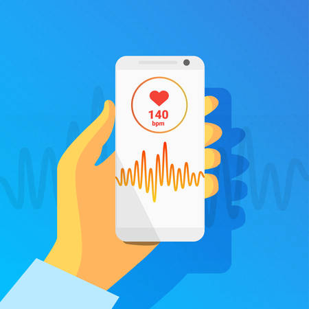 Health app on smartphone screen with pulse rhythm. Healthcare, medical app, health monitoring concept.