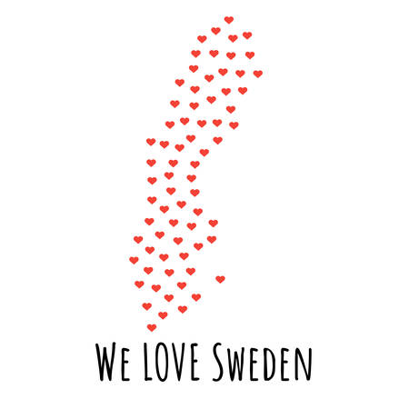 Sweden Map with red hearts- symbol of love. abstract background with text We Love Sweden. vector illustration. Print for t-shirt Stock Vector - 96443728