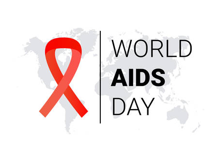 World AIDS Day with red ribbon awareness vector.