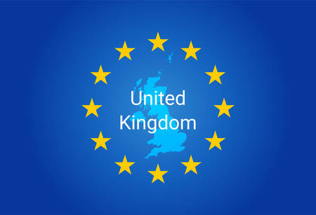 European Union flag and Map of United Kingdom vector Stock fotó - 96888481