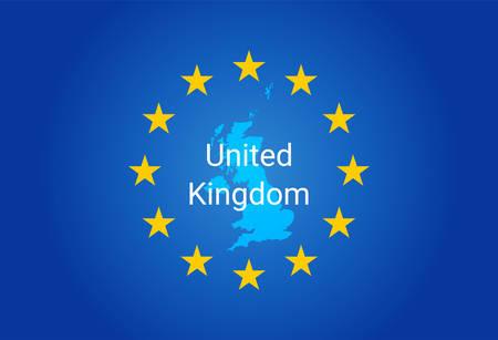 European Union flag and Map of United Kingdom vector Illustration
