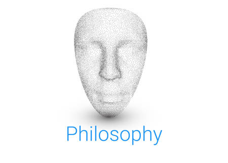3D model of human face. A background for a textbook on philosophy, a logo for a theater or a pseudo, a psychologist, a psychotherapist, a thinker. vector illustration Stock Illustratie