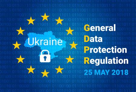 GDPR - General Data Protection Regulation. Map of Ukraine, EU flag. vector illustration Vectores