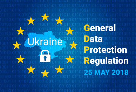 GDPR - General Data Protection Regulation. Map of Ukraine, EU flag. vector illustration Vettoriali