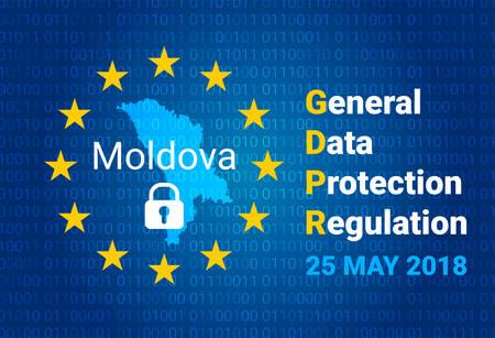 GDPR - General Data Protection Regulation. Map of Moldova, EU flag. vector illustration