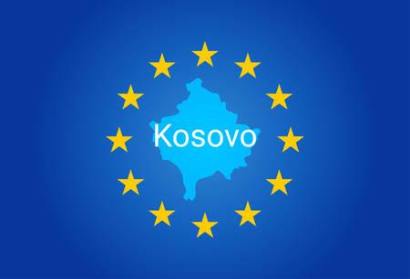 Eu European Union Flag And Map Of Kosovo Vector Illustration