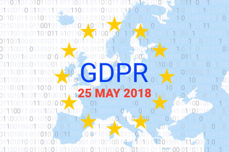 GDPR - General Data Protection Regulation. EU map and flag symbol. Data 25 may 2018. Vector illustration