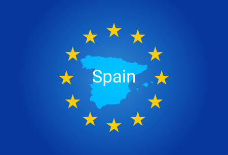 European Union flag and Map of Spain vector illustration