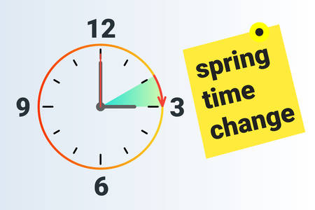 Spring Time forward. Summer clock change. Daylight saving time. Vector illustration