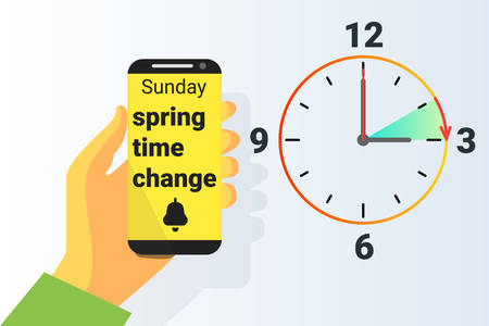 Spring Time forward, Daylight saving time Vector illustration
