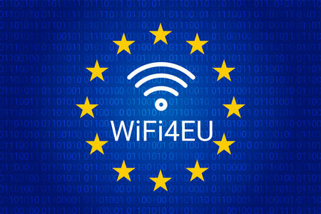 wifi4eu - free Wi-Fi hotspots in the European Union. vector illustration