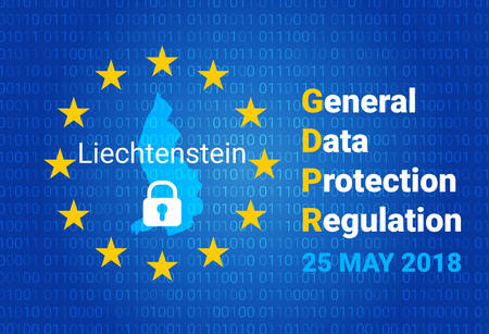 GDPR - General Data Protection Regulation concept vector illustration. Map of Liechtenstein, EU flag. vector illustration