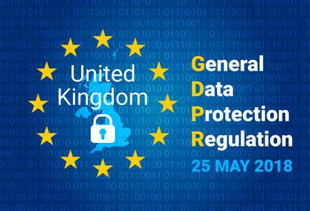 General data protection regulation, map of United Kingdom, vector illustration.