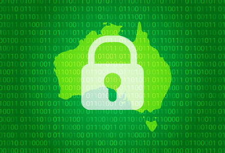 Map of Australia. vector illustration with lock and binary code background. internet blocking,virus attack, privacy protect
