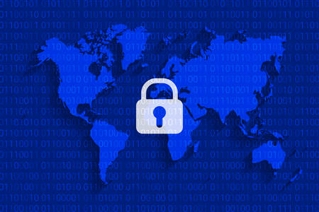 world cyber security map. cyberspace internet. digital technology background. vector illustration
