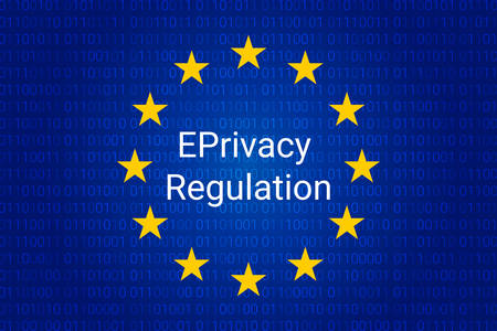 EPrivacy Regulation background. European Union flag. vector illustration