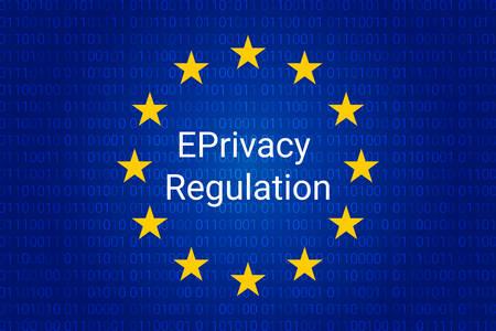 EPrivacy Regulation background. European Union flag. vector illustration