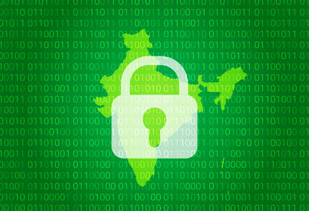 Map of India vector illustration with lock and binary code background. Illustration