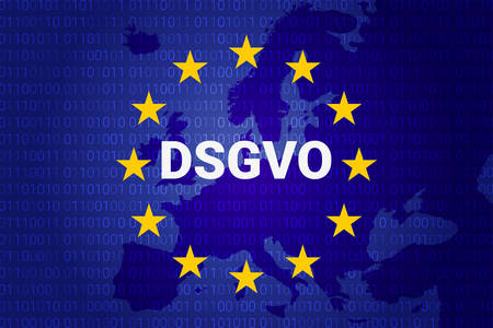 Dsgvo, German Datenschutz-Grundverordnung, general data protection regulation vector illustration, Europe map.