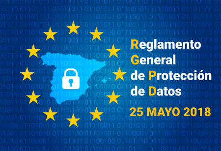 RGPD - spanish text: Reglamento General de Proteccion de Datos. GDPR - General Data Protection Regulation. Spain map. vector