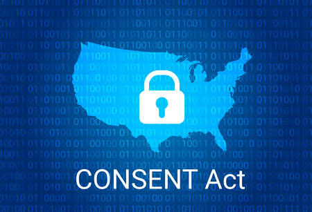 Consent act, customer online notification for stopping edge, provider network transgressions, USA map vector illustration.