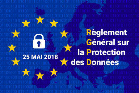French RGPD - Reglement general sur la protection des donnees. GDPR - General Data Protection Regulation Иллюстрация