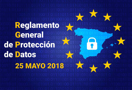 Algemene verordening gegevensbescherming. Spanje kaart vectorillustratie Stockfoto - 99990264