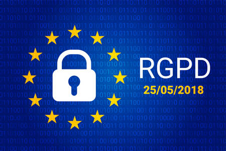 General data protection relation in French, Italian, Spanish Vector illustration
