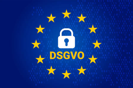 dsgvo which stands german Datenschutz-Grundverordnung. Vector illustration