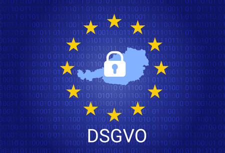 dsgvo - german Datenschutz-Grundverordnung. gdpr - General Data Protection Regulation. vector illustration. Austria map