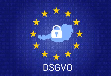 dsgvo - german Datenschutz-Grundverordnung. gdpr - General Data Protection Regulation. vector illustration. Austria map