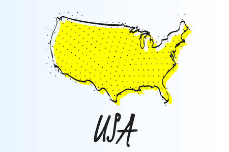 Map of United States, halftone abstract background. drawn border line and yellow color