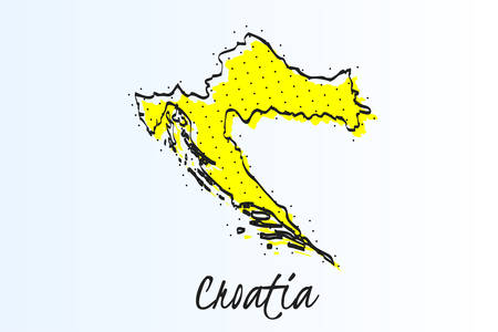 Map of Croatia, halftone abstract background. drawn border line and yellow color Illustration