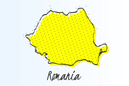 Map of Romania, halftone abstract background. drawn border line and yellow color