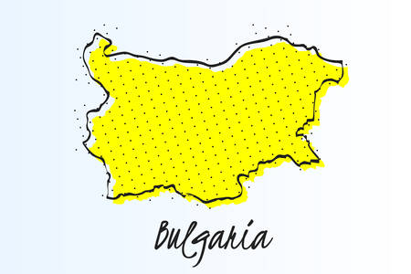 Map of Bulgaria, halftone abstract background. drawn border line and yellow color Иллюстрация