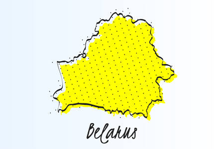 Map of Belarus, halftone abstract background. drawn border line and yellow color