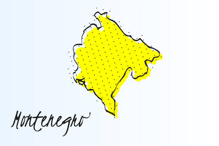 Map of Montenegro, halftone abstract background. drawn border line and yellow color