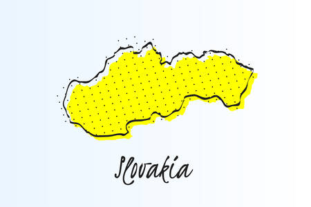 Map of Slovakia, halftone abstract background. The black dots on a yellow background. drawn border line. vector illustration